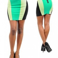 MINT COLORBLOCK SKIRT-Skirts-Long Skirts,Mini Skirts,mid-lenth skirts,leather skirt,maxi skirt,pleated skirt,floral skirt,colorful skirts,a line skirt,silk skirt,plus size skirts,sexy skirts