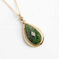 Vintage 12k Gold Filled Nephrite Jade Diamond Pendant Necklace- Mid Century 1960s Floral Jewelry Hallmarked Atamore