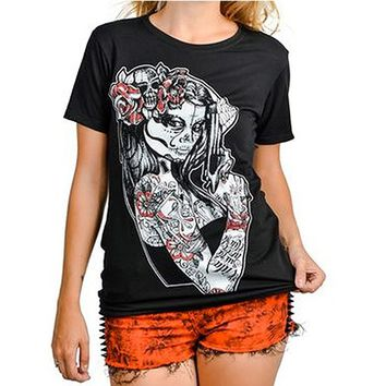 "Women's ""Anna Maria"" Slashback Tee by Too Fast Apparel (Black)"