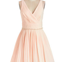 ModCloth Mid-length Sleeveless Fit & Flare Peach and Every Guest Dress