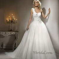 Ball Gown One-Shouler Chapel Train Tulle Wedding Dress WBG0835 - 2012 Wedding Spring Collection - Wedding Dresses