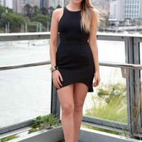 Black Sleeveless Back Cut Out Dress