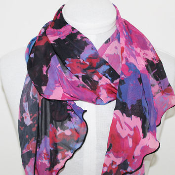 Twilight / Ripple Edge Chiffon Scarf / Opera Length
