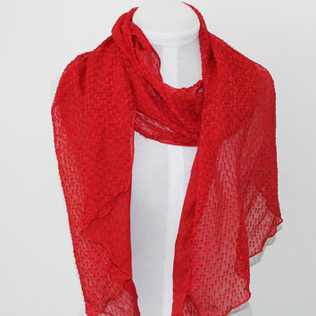 Red Eyelash / Ripple Edge Chiffon Scarf / Opera Length