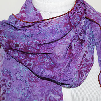 Purple Power / Ripple Edge Chiffon Scarf / Opera Length