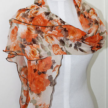 Autumn Roses / Ripple Edge Chiffon Scarf / Opera Length