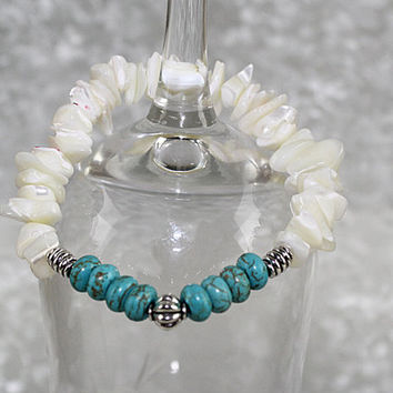 Mother of Pearl and Magnesite Stretch Bracelet, Elastic Bracelet, B116