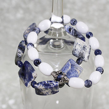 Pair of Sodalite and White Glass Stretch Bracelets , Elastic Bracelet, B115