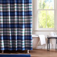 Portsmith Plaid Shower Curtain, Navy