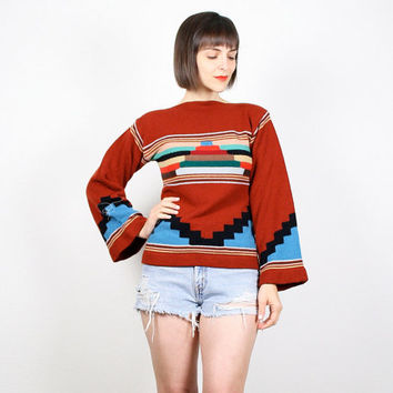 Vintage Hippie Sweater Brown Jumper Bell Sleeve Sweater 1970s 70s Pullover Knit Aztec Ethnic Southwestern Design Boho Knit S Small M Medium