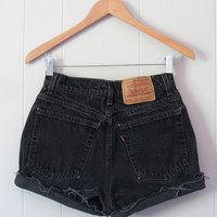 Vintage Levi's Black High Waisted Cut Off Denim Shorts Jean Cuffed USA 26""