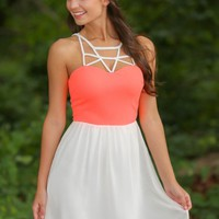 Summer & The City Dress-Neon Coral/White