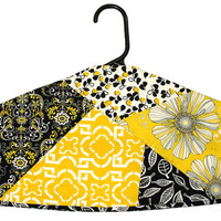 Garment Bag Hanger Cover - Crazy Pieced - Black & Yellow