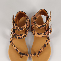 Bamboo Nadya-08 Leopard Strappy Buckle Flat Sandal
