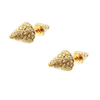 Pave Double Cone Earrings (Rose Gold)