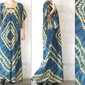 Vintage Boho // Embroidered Tie Dye Caftan Maxi Dress // Bell Sleeve // Handmade // Blue // One Size XS Extra Small / Small / Medium / Large