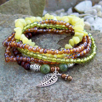 New Jade and Dark Wood Stretch Stacking Bracelets - Bohemian Filigree Leaf Charm