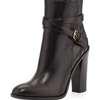 Saint Laurent Leather Crisscross Ankle Boot, Noir