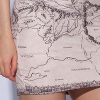 Lord of the Rings Middle Earth Map Skirt