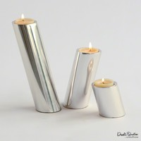 Slanted Nickel Candle Holders by Global Views - Opulentitems.com