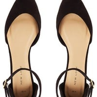 New Look Kuzzle Black Two Part Strap Flat Shoes at asos.com