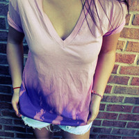 American Apparel Dyed Pink vneck by MFjewels on Etsy
