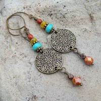 Metal Flower Mandala Link Earrings - Picasso Czech glass Beaded Earrings - Bohemian Style