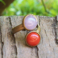 Love - Two Stone Adjustable Ring - Red Jasper Gemstone and Rose Quartz  - Hippie Bohemian - Rustic Gypsy Ring