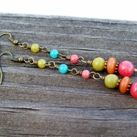 Colorful Cascade - Beaded Linear Dangle Earrings - Colorful Gemstone Earrings - Bohemian Hippie
