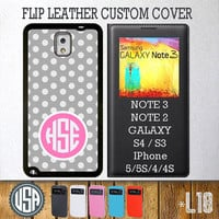 Custom Monogram Polka Dot Pattern Flip Leather Cover @ Samsung Galaxy S4 case S3 , Samsung Note 3 Note 2 , IPhone 5 5S , IPhone 4 4S L18