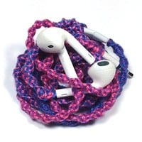 MyBuds Tangle Free Headphones w/mic Pink Purple Blue Swirl for iPhone