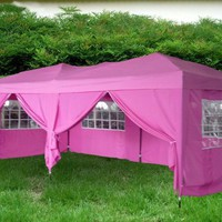 EXACME Pink 10x20 Ft Easy POP Up Wedding Canopy Party Tent Gazebo with Side Walls and Carry Case