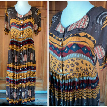 Vintage 80s Babydoll Dress Maxi Dress Tribal Animal Print Hippie Shell Button Midi Boho Oversize Dress S 36 B
