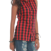 Royal Bones Red Plaid Button-Up Top