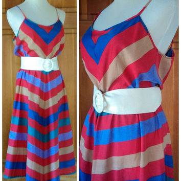 Vintage 70s Chevron Sun Dress Stripes Spaghetti Straps Sundress Summer Day Dress Medium 38 Bust