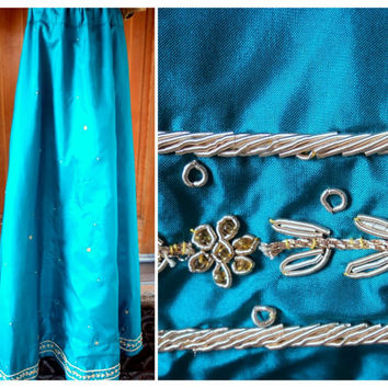 Vintage Bohemian Long Skirt Beaded Metallic Rope Trim Pearls Floral High Waisted Festival Maxi Boho Hippie Skirt