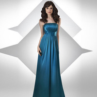 Charmeuse Strapless Floor Length Pleated Bridesmaid Dress