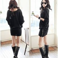 Aliexpress.com : Buy Free Shipping/Europe/Loose/bat sleeve/zipper/long T shirt/dress/autumn dresses/RG10081 from Reliable Autumn dresses suppliers on ROGG HOME