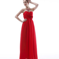 Chiffon Strapless Flower Floor Length Bridesmaid Dress