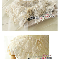 Free shipping! 2012 Wholesale fashion beige vintage double layer lace princess pearl flower false collar-in Ties from Apparel  Accessories on Aliexpress.com