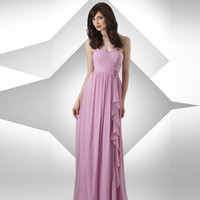 Chiffon Ruffle Hand Flower Floor Length Bridesmaid Dresses