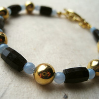 Vintage Bracelet Gold Blue and Black Bracelet by PiggleAndPop