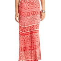 TRIBAL PRINT SINGLE SLIT MAXI SKIRT