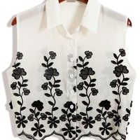 Black White Button Down Cropped Shirts - OASAP.com