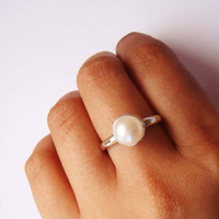 Classic Pearl Ring- Made To Order Sterling Silver And Freshwater Pearl Ring. | Luulla