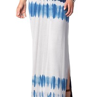 Tie Dye Maxi Skirt in Blue