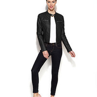 Jou Jou Zip-Front Faux-Leather Moto Jacket