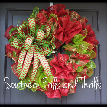 Christmas Wreath, Burlap Christmas Wreath, Holiday Wreath, Burlap Holiday Wreath, Red and Lime Christmas Decor