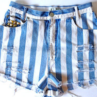 Custom Vintage High Waisted White and Blue by terrafiedclothing