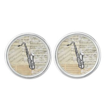 Vintage Saxophone Music Cuff Links